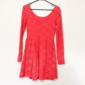 Free People Anthro Red Lace Skater Dress